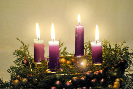 16661989 - advent wreath with lighted candles
